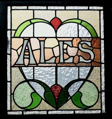 Antique Pub Brewery ALES stained Leaded Glass Window Beer ale micro pub 🍻