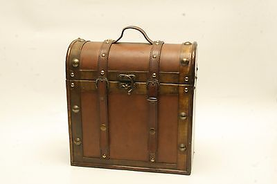 Vintage Bottel Case  Brown Wood & Leather 3 Wine Bottle Holder Case Rustic AC4