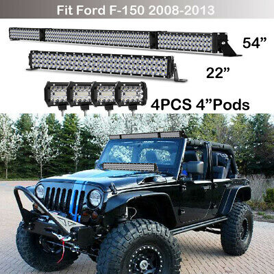 """54inch Tri-Row LED Light Bar Combo+ 22in + 4x 4inch PODS For Ford Jeep 52""""20""""21"""""""