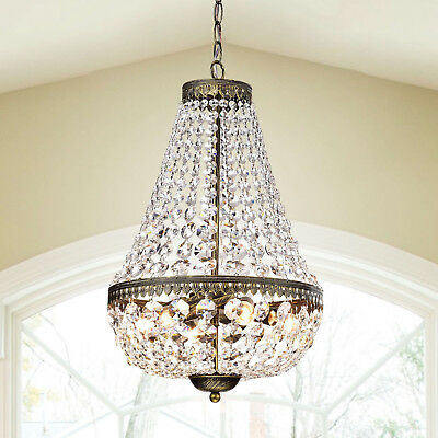 Glam Clear Glass Crystal Symmetric 6-Light Antique Copper Chandelier