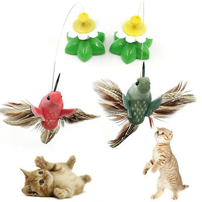 1/2 Pet Cat Teaser Wire Interactive Toys Colorful Electric Rotating Bird Flower
