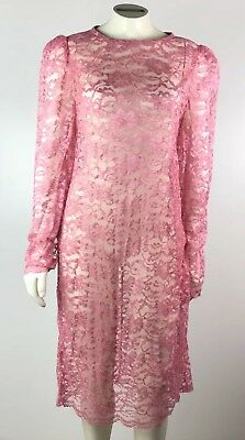Womens Overlay Lace Dress Size Large Pink Long Sleeve Sheer Shoulder Pads Nude