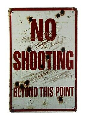 US SELLER, No shooting beyond this point tin metal sign old signs sale
