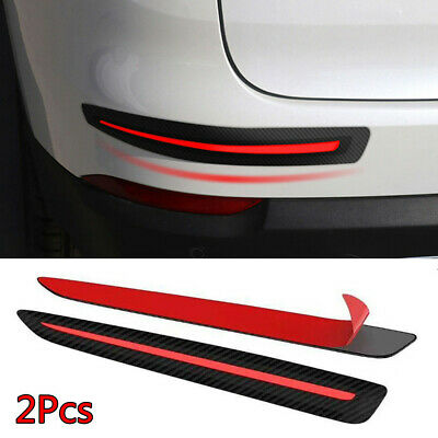 2Pcs Carbon Fiber Front/Rear Car Bumper Sticker Scratch Protector Guard Strips!
