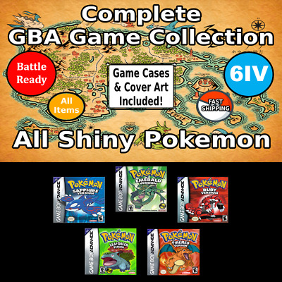Unlocked Pokemon GBA Collection | All Shiny Pokemon + Max Items | 5 Games | GBA