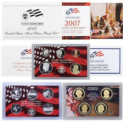 2007-S United States Mint SILVER PROOF SET 14-Coins w/Box + OGP