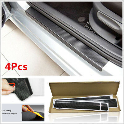 4Pcs 3D Carbon Fiber Auto Car Door Sill Scuff Plate Cover Anti Scratch Stickers