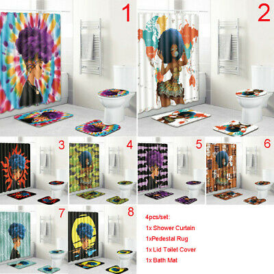 4pcs/set African Afro Girl Shower Curtains Rugs Toilet Seat Cover Bathroom Set