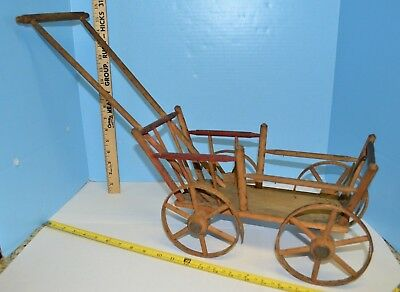 """Antique Toy Doll Size Cart Wagon Primitive Wood Wicker Cart 22.5"""" x 15.5"""" x 8.5"""""""