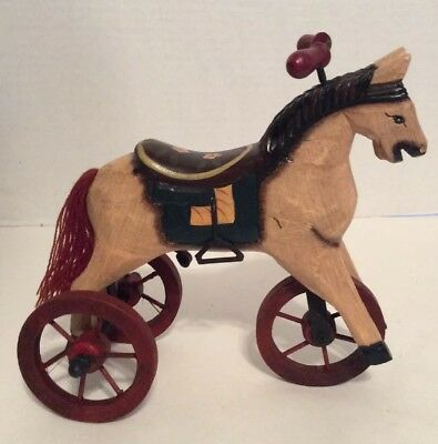 Wood Horse Pony On Wheels Metal Primitive Toy Home Decor