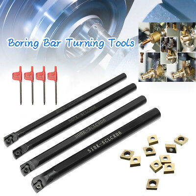 6/7/8/10mm SCLCR06 Turning Tools Lathe Boring Bar W/CCMT060204 Insert W/4xWrench