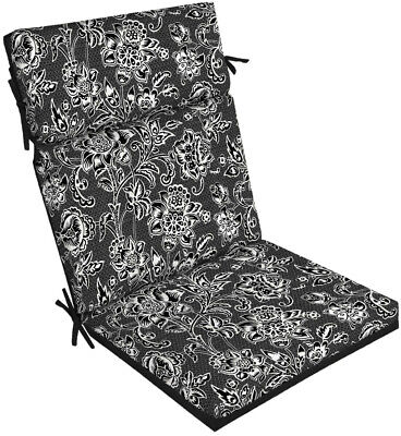 Patio Chair Seat Cushion High Back Polyester UV Resistant Black and amp; White