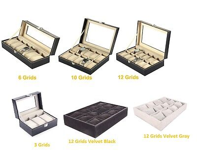 6/10/12 Grids Faux Leather Watch Case Display Box Storage Jewellery Glass Top UK