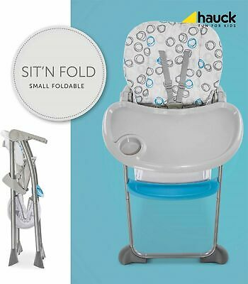 NEW Hauck  Sit 'N Fold Baby Feeding Highchair with basket in Circles Blue
