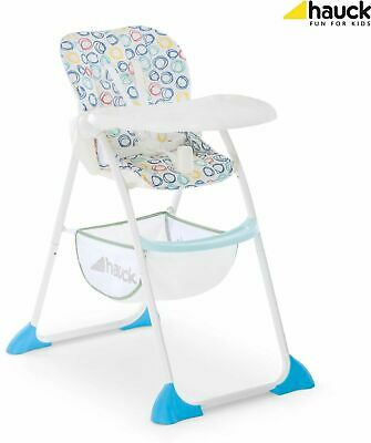 NEW Hauck  Sit 'N Fold Baby Feeding Highchair with basket in Circles Multi