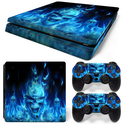 Blue fire skull Sony PS4 Slim DECAL PROTECTIVE STICKER CONSOLE CONTROLLER