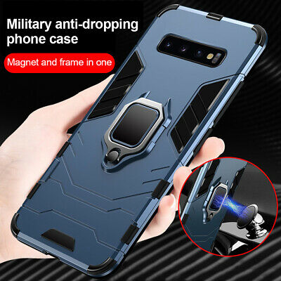 For Samsung Galaxy S10 Plus S9 S8 Metal Finger Ring Holder Armor Slim Case Cover