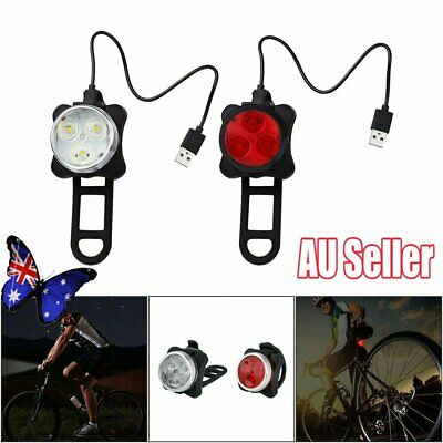 IPX4 Waterproof Bicycle Bike Lights Front Rear Tail Light Lamp Rechargeable NW