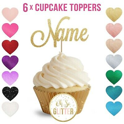 customised cupcake toppers glitter cake topper custom personalised - PACK OF 6
