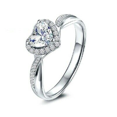 Certified 1.80CT Heart Cut White Diamond 14K In White Gold Halo Engagement Ring