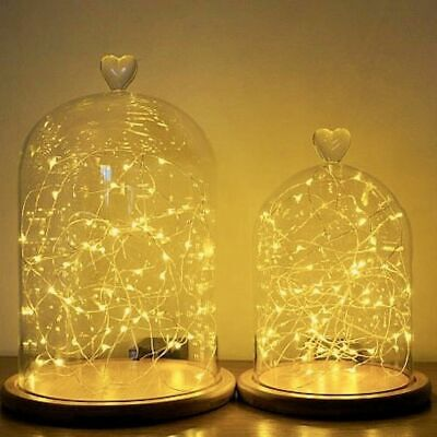Glass Cloche | Heart Topped | Bell Jar Display Dome | Bamboo Base | String Warm