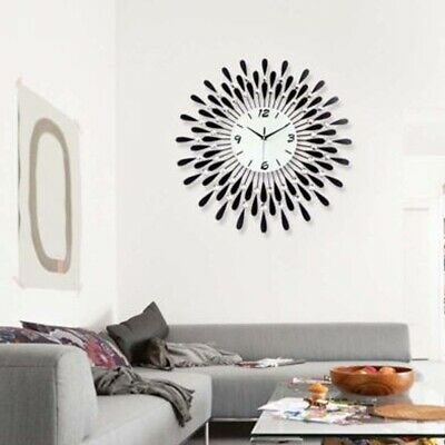60 Cm Clear Diamante Black Sunflower Metal Spiked Wall Clock Beaded Jeweled New