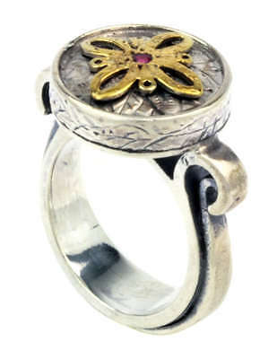 ROUND ORNATE  BYZANTINE-MEDIEVAL RING- 925 Silver/18K Gold Plated Silver
