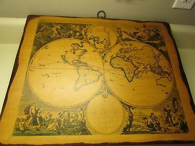 "Vintage Old World Map Mounted On Wood 20"" x 16"""