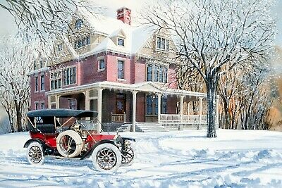 №179.6 Postcard modern Rare new Beautiful Old car New Year Winter Family house