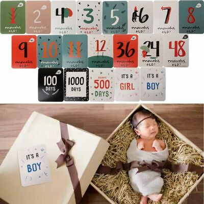 20 PCs Baby Monthly For Memory Photograph Sticker Fun Month 1-12 Milestone Card