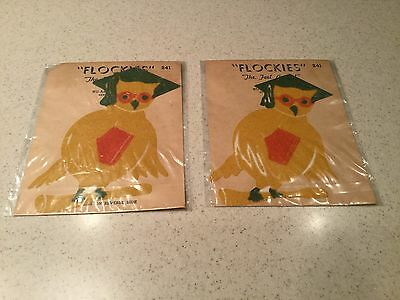 Antique Nu Art Flockies Owl 1944 New Old Stock Stickers Appliques