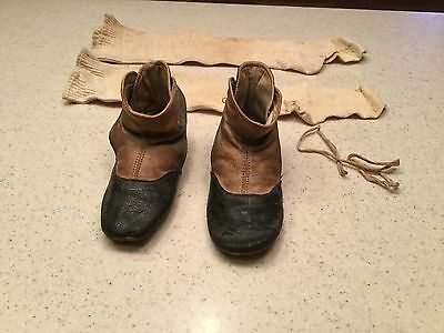 Vintage Used Leather Childrens Shoes Black Tan