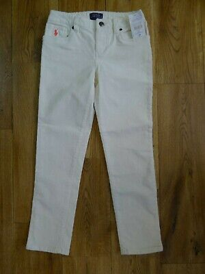 NWT Ralph Lauren girls ivory corduroy trousers size 7 years