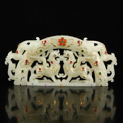 """6"""" China old hetian white jade carving double Unicorn kylin inlay gem statue"""