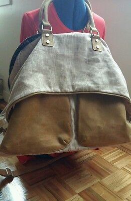 Jesslyn Blake Anthropologie large weekend tan leather canvas large bag carry all