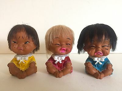 Vintage Mid Century Japanese Moddy Cuties Collectible Mod Baby Dolls Set Of 3