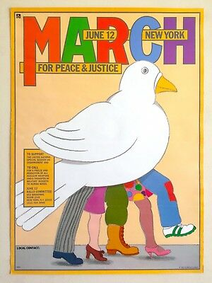 """Seymour Chwast Rare 1982 """"March For Peace & Justice"""" Collector's Pop Art Poster"""