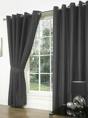 Charcoal Thermal Blackout Curtains Ready Made Eyelet Ring Top Lined Curtains