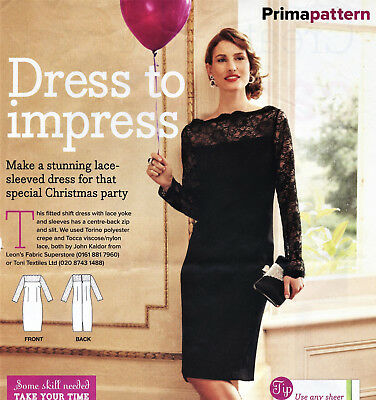 Stunning LACE DETAIL PARTY SHIFT DRESS Prima Sewing Pattern 10 12 14 16 18 20