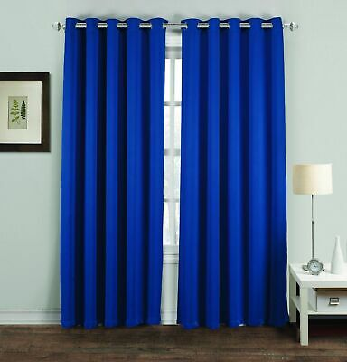 Royal Blue Thermal Blackout Curtains Ready Made Eyelet Ring Top Lined Curtains