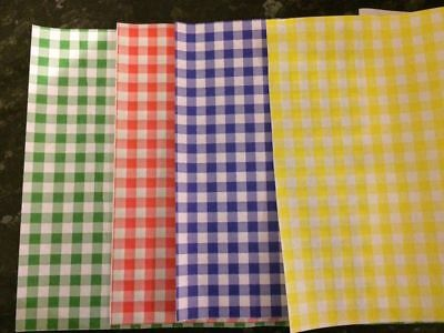 100 x MIX Gingham Duplex Paper Food Wrap Greaseproof 25X35cm Chip Basket Liner