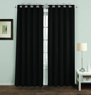 Black Thermal Blackout Curtains Ready Made Eyelet Ring Top Lined Curtains