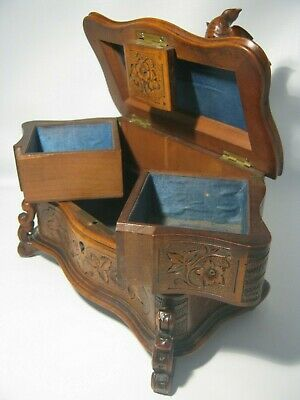 Antique Black Forest Carved Bird Spreads Wings Over Nest Jewelry Box