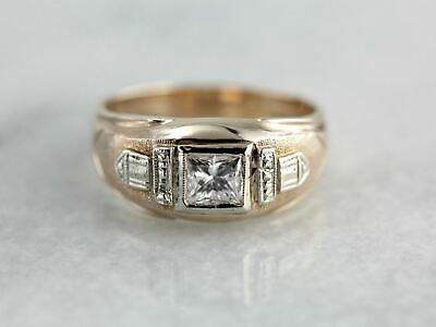 Art Deco to Mid Century Band with Square Cut Diamond