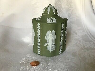 WEDGEWOOD ANTIQUE mid 19th century Sage green tea caddy  free📦 shipping wwbox
