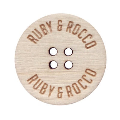 Personalised 20mm Buttons Wooden | Custom Birch Wood Buttons | Add any text