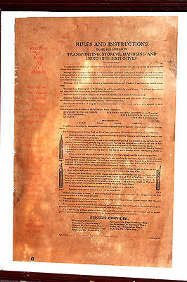 Antique 1890's - Hercules Powder Company - Rules and Instruction - Old West