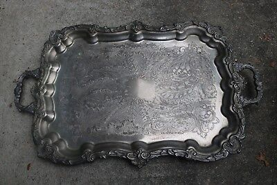 The Sheffield Silver Co. Rectangular Silver Plate Serving Footed Tray Handles