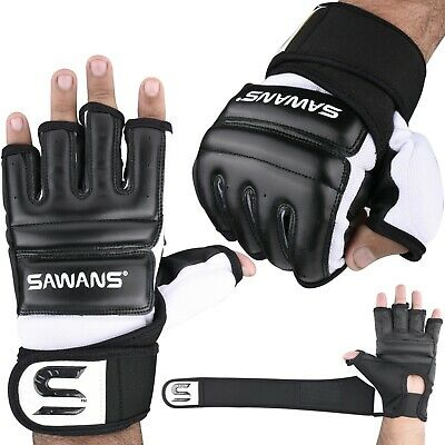 SAWANS® Leather MMA Boxing Gel Gloves Body Combat Punch Bag Training Martial Art