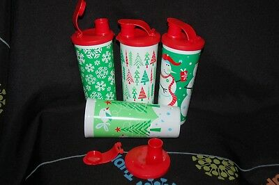 Tupperware 4pc set of Holiday TUMBLERS 16oz each with flip top seals Christmas